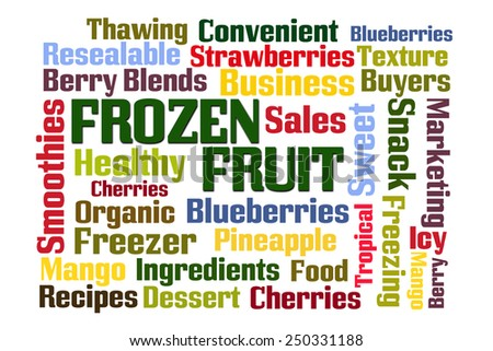 Frozen Fruit word cloud on white background - stock photo