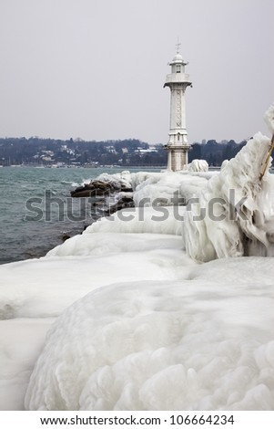 Frozen Geneva lighthouse - stock photo