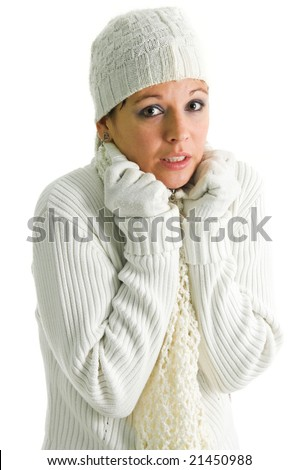 Frozen girl in white winter clothing isolated over white - stock photo