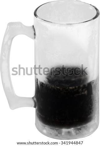 frozen glass mug and beverage