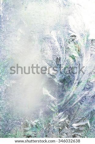 Frozen glass of a window - stock photo