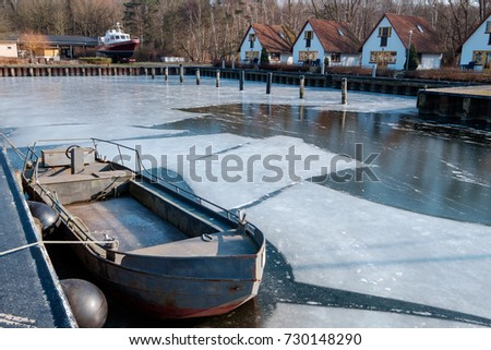 Frozen harbor on Usedom/Germany