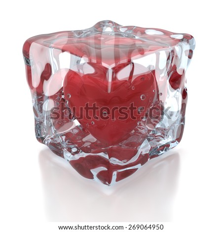 Frozen heart inside the ice cube, 3D render - stock photo