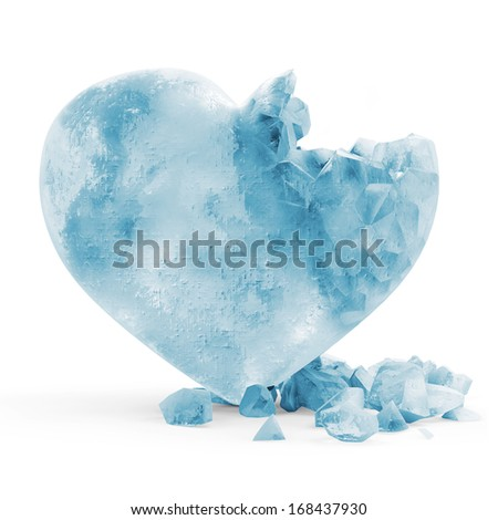 Frozen Heart isolated on white background - stock photo