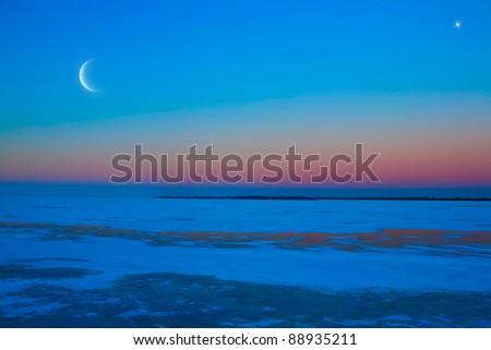 frozen ice lake winter moonlit night - stock photo