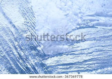 Frozen ice macro view. Icy pattern background. macro view  - stock photo