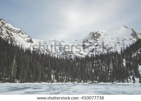 Frozen Joffre lakes near Whsitler, BC - stock photo