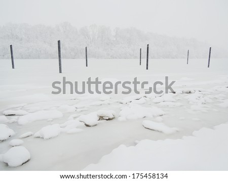 frozen lake - stock photo