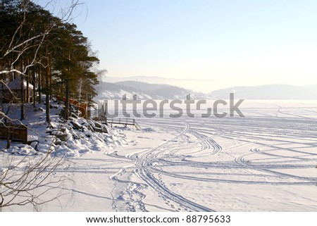 Frozen lake - stock photo