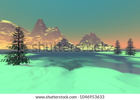 Frozen lake, 3D rendering, a snowy landscape, coniferous trees, fog on the horizon and a clear sky.