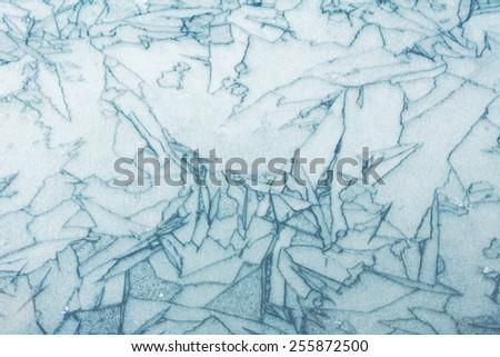 frozen lake surface with wonderful pattern - stock photo