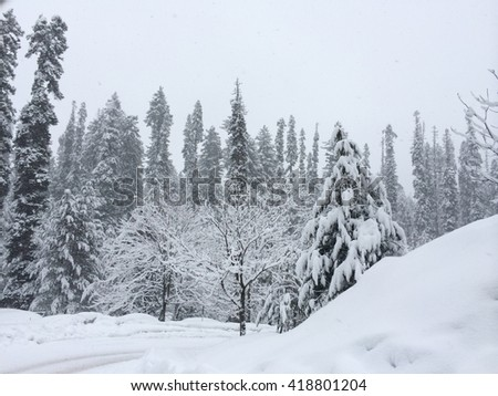 Frozen land of India. Gulmarg in Kashmir.