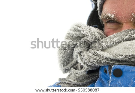 frozen man face in winter scene isolated on white background