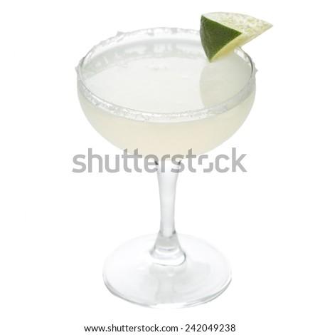 Frozen margarita cocktail isolated on white background - stock photo