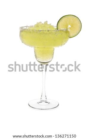 Frozen Margarita With Sweated Glass - stock photo