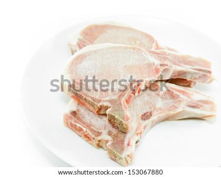 frozen meat ,  pork chops - stock photo