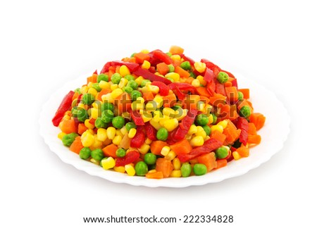 Frozen Mixed Vegetables Isolated White Background. Organic Food. - stock photo
