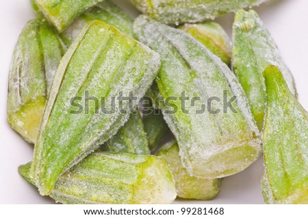 Frozen okra ready for cooking. - stock photo