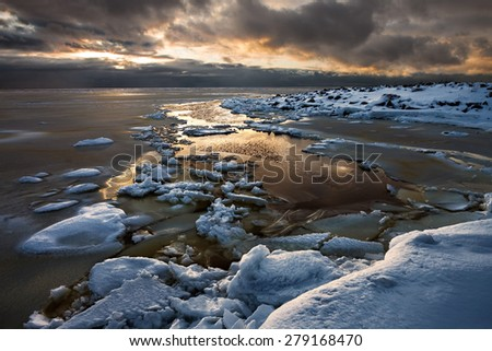 frozen part of Finnish gulf.Russia. - stock photo