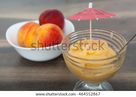 Frozen peach yogurt with with fresh fruits