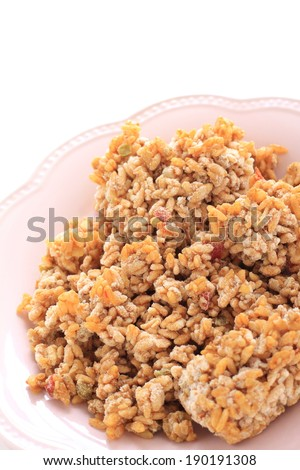 frozen pilaf on pink dish for Japanese instant food image - stock photo