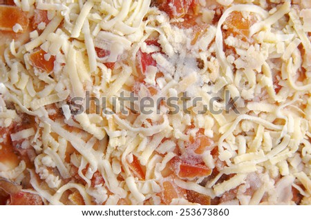 Frozen pizza background. Frozen semi-prepared foods. - stock photo