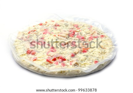 FROZEN Pizza Chicken parmesan with tomato onion on WHITE - stock photo