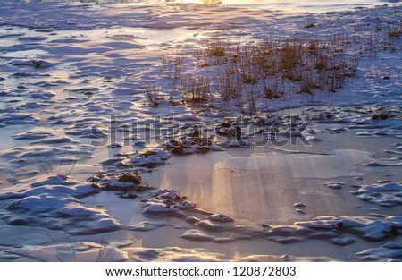 Frozen pond with snow and grass at sunset during an Alaskan winter.