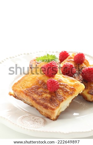 frozen raspberry on french toast for gourmet breakfast image