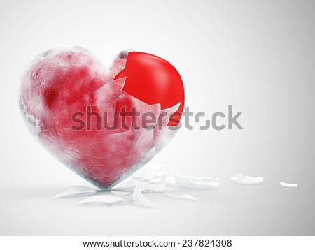 Frozen Red Heart on gradient background. St Valentine's Day and Love Concept - stock photo