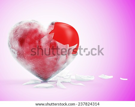 Frozen Red Heart on Pink gradient background. St Valentine's Day and Love Concept - stock photo