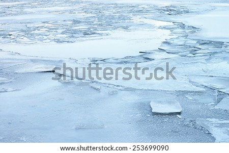 Frozen river ice background