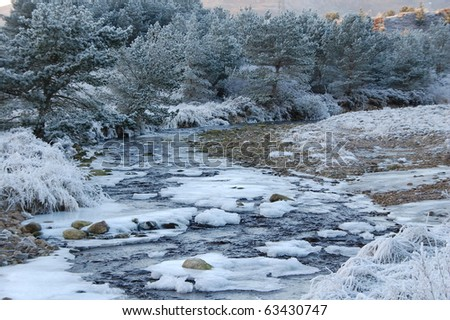 Frozen river in countryside during winter time