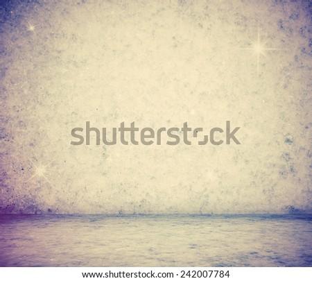 frozen room, retro film filtered, instagram style christmas background - stock photo