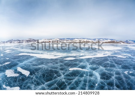 Frozen russian siberian lake Baikal in winter - stock photo