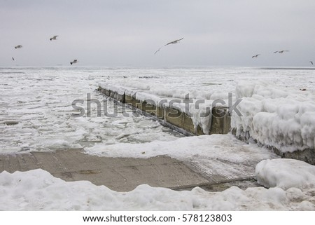 Frozen sea and pier background