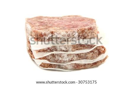 Frozen Stack Of Hamburgers Isolated - stock photo