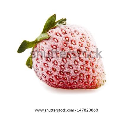 frozen strawberry on a white background - stock photo