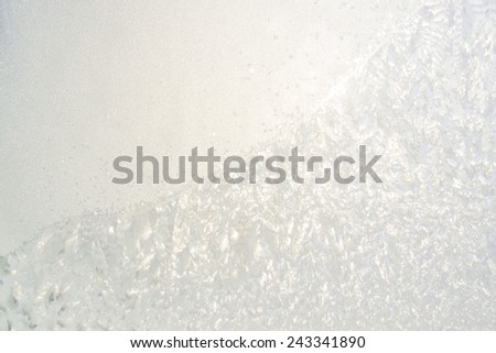 Frozen sunny glass window background for winter design  - stock photo