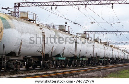 Frozen tanks with liquefied gas - stock photo