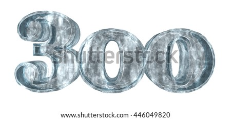 frozen three hundred on white background - 3d rendering - stock photo
