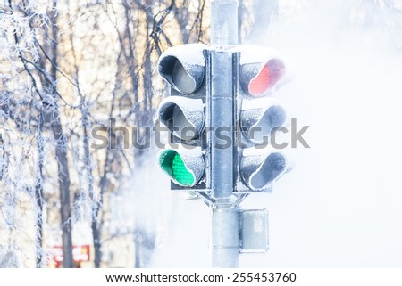 Frozen traffic lights - stock photo