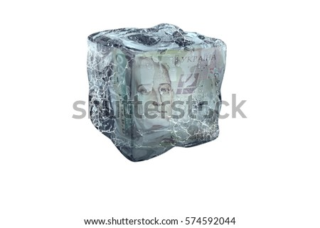 Frozen Ukrenian UAH money in ice cube, isolate on a white background