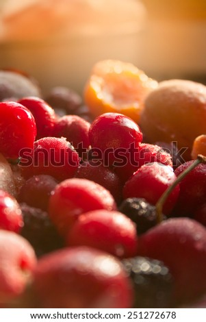 Frozen Variety of Fruits, Vertical Background - stock photo