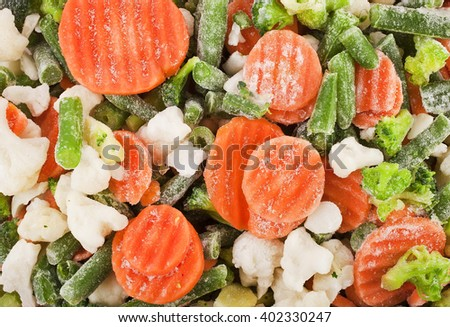 Frozen vegetables background