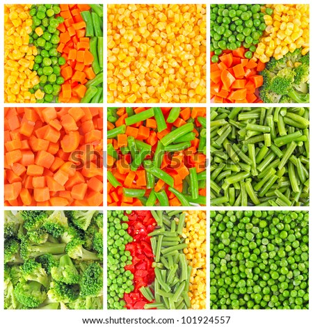 Frozen vegetables backgrounds set
