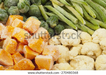 frozen vegetables of different types of close-up - stock photo