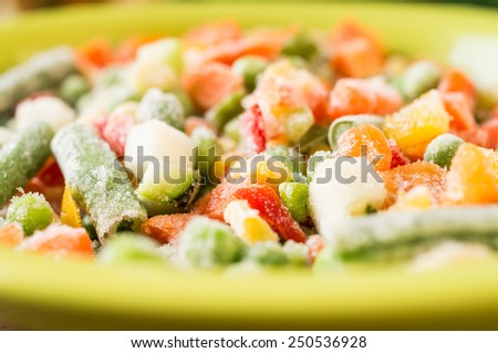 Frozen vegetables: peas, green beans, corn, carrots, peppers in a bowl - stock photo