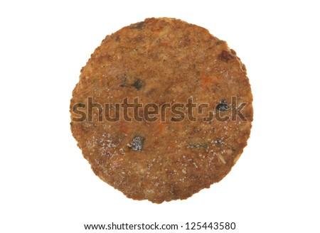 Frozen veggie burger macro view; isolated on white background - stock photo