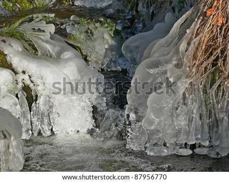 Frozen water, icicles - stock photo